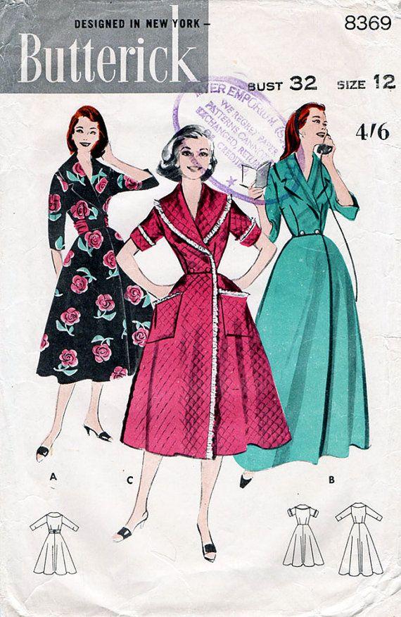 década de 1950 robe & Brunch capa patrón por BessieAndMaive en Etsy ...