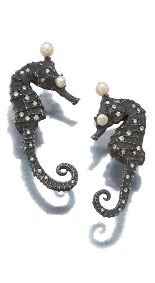 Pair of silver, gold, seed pearl and diamond ear clips, JAR Each designed as a seahorse, set with brilliant-cut diamonds and seed pearls, signed JOUR de JAR, French assay and maker's marks.