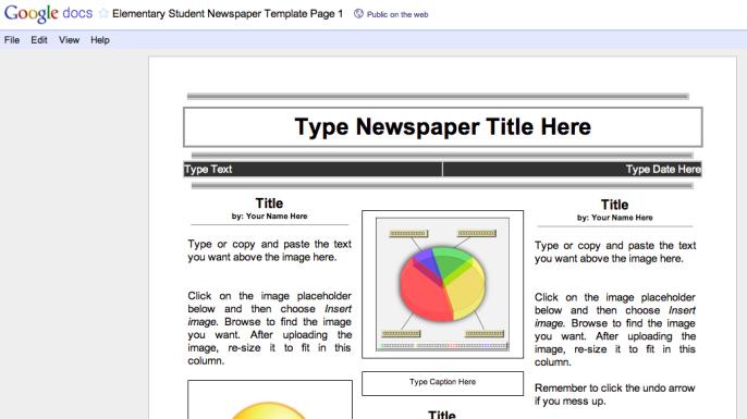 Using Google Docs To Create A Class Newspaper Class Newspaper