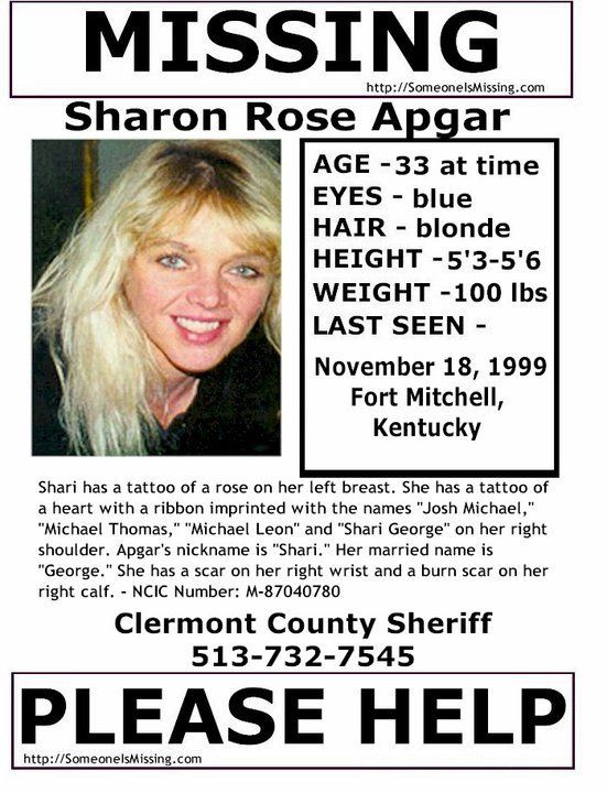 Missing presumed dead Shari Apgar from Ft Mitchell, KY since - what is presumed