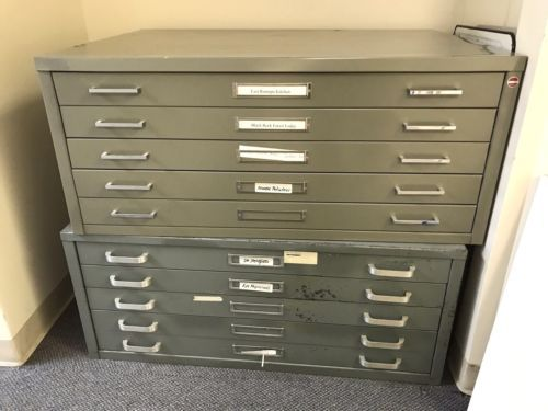 Details about Two 5 drawer metal flat plan Map Files One Stacor 29 X
