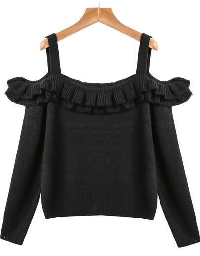 Black Off the Shoulder Ruffle Knit Sweater pictures