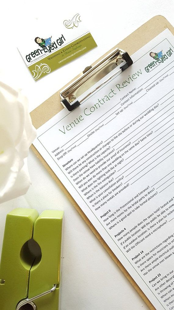 wedding venue contract review  questions to ask worksheet