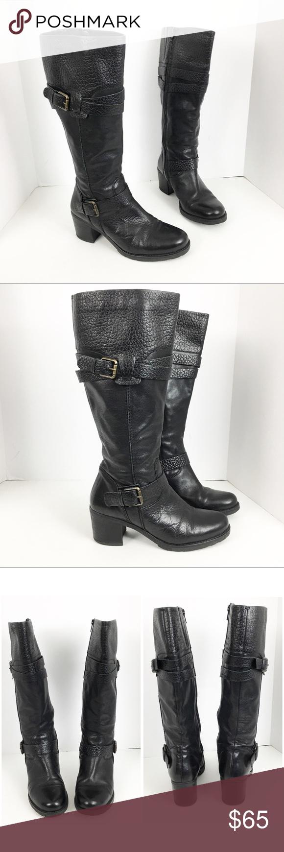 bdd4f97e6 Clarks Fernwood Oasis black leather boots sz 40/ 9 Clarks Fernwood Oasis black  leather buckles