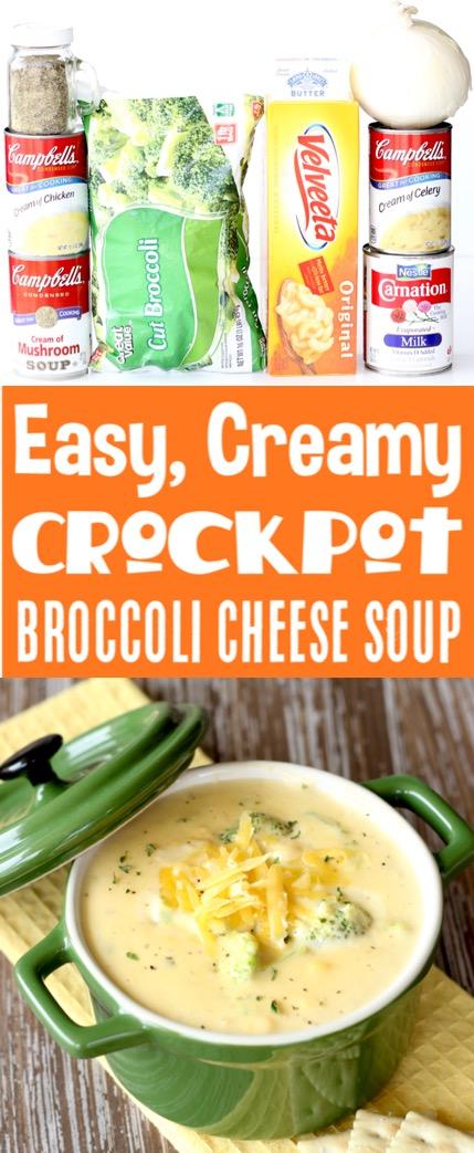 Crockpot Soup Recipes Easy Broccoli Cheese Soup! #crockpotrecipes