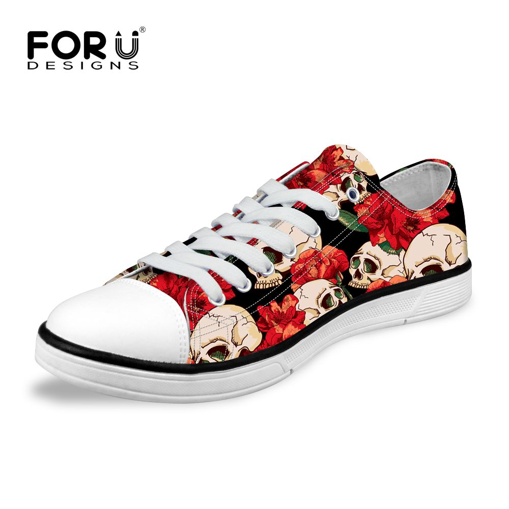 FORUDESIGNS Classic Canvas Shoes for Women Low Top Print Skull ...