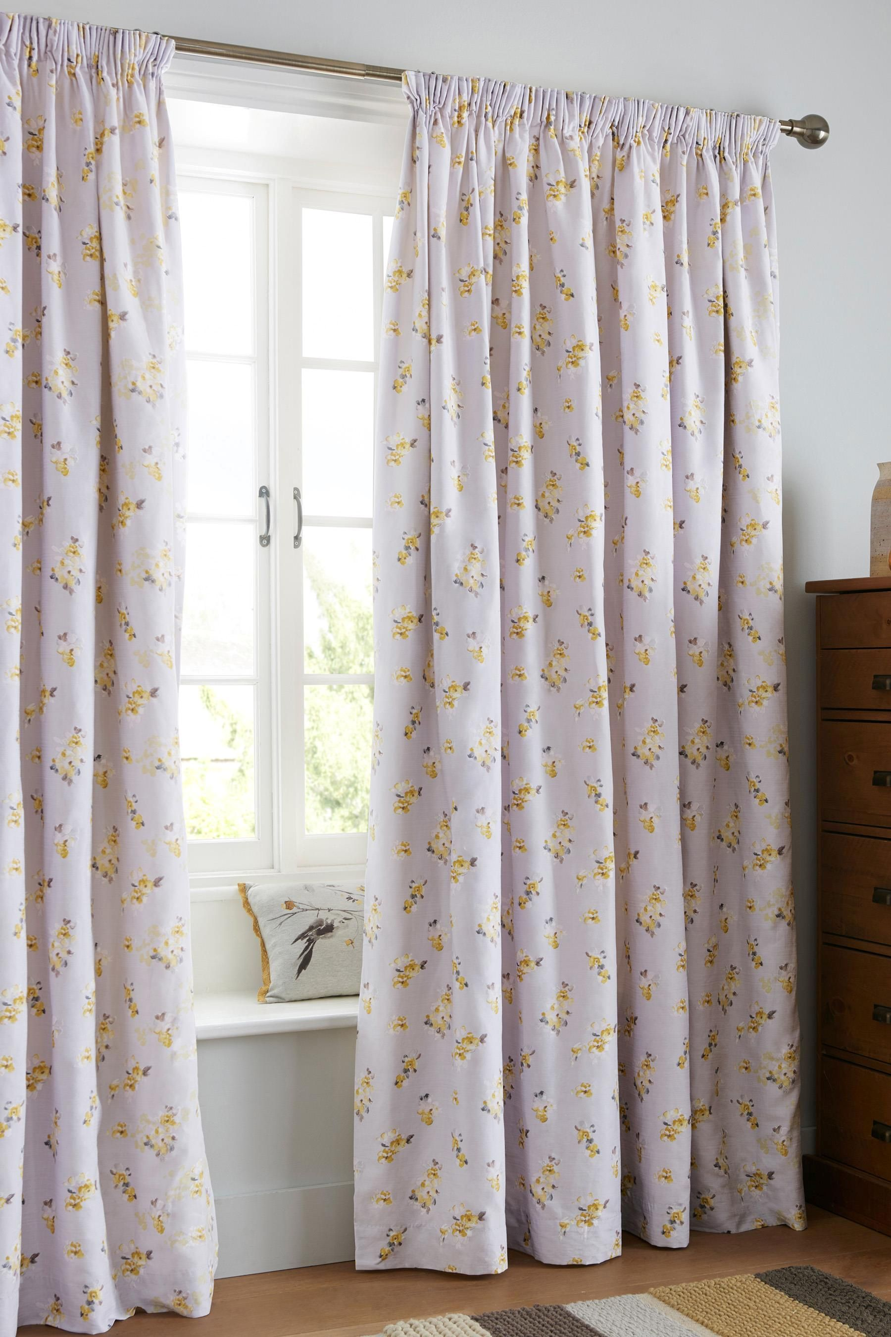 Next Bedroom Curtains Buy Cotton Sateen Ochre Watercolour Floral Pencil Pleat Curtains