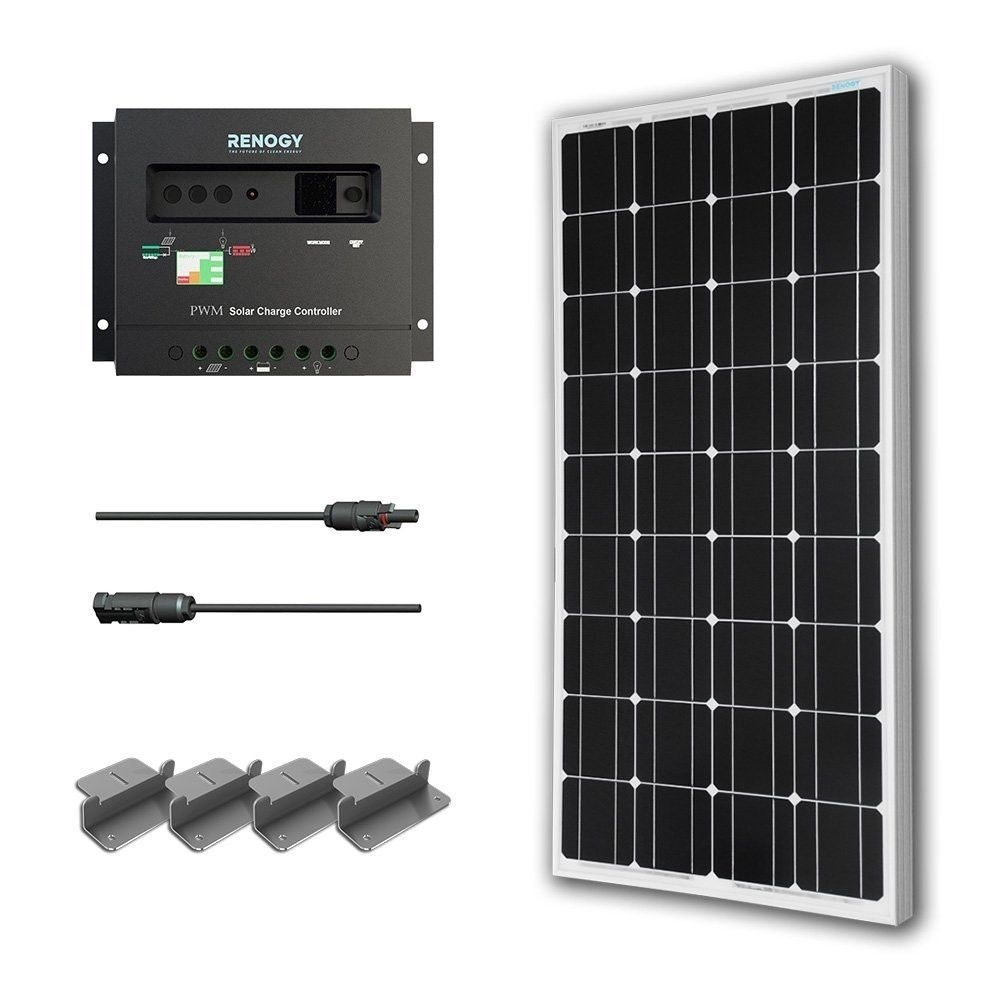 100 Watt Solar Panel With Charge Controller And Z Mounting Brackets Solar Kit Solar Panel Kits 12v Solar Panel