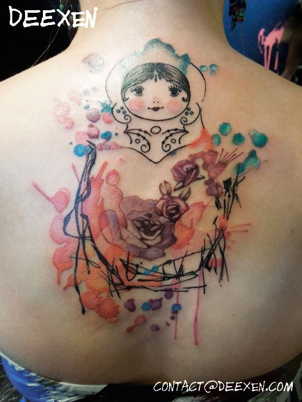 matriochka watercolor graphic tattoo deexen tattoo pinterest tatouage tatoo et poup e. Black Bedroom Furniture Sets. Home Design Ideas