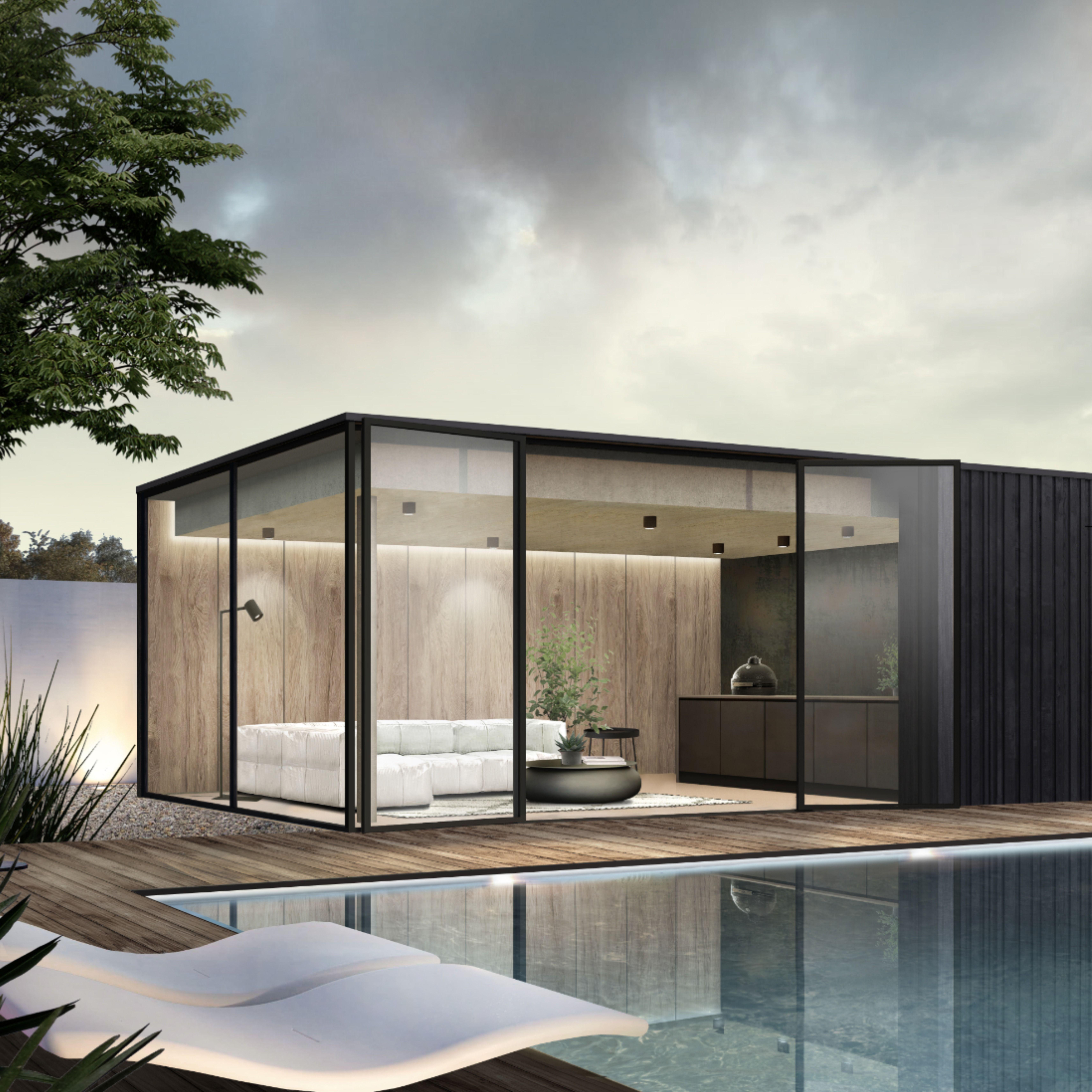 Buitenverblijf Met Bar In 2020 Pool Houses Modern Sliding Doors Sliding Doors Exterior