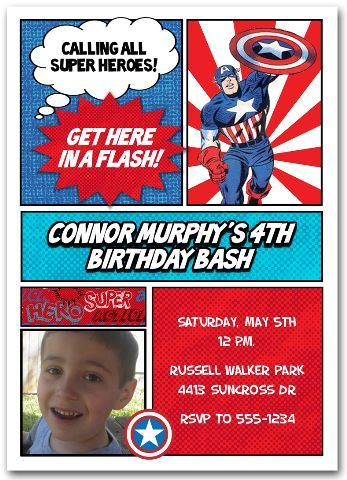 Captain America Photo Invitation Custom Personalized Photo Birthday Party In Captain America Party Captain America Birthday Captain America Birthday Party