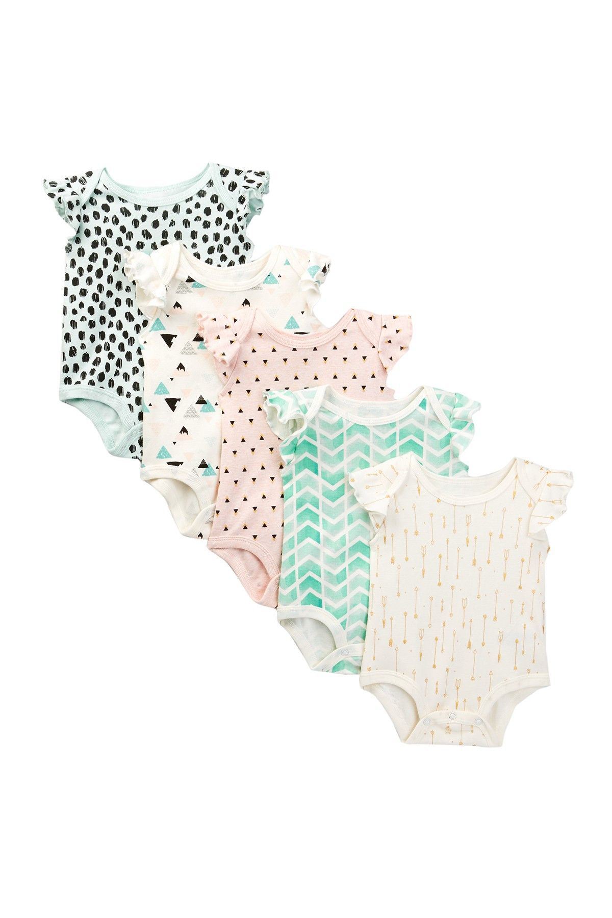 Printed Flutter Sleeve Bodysuit Set of 5 Baby Girls