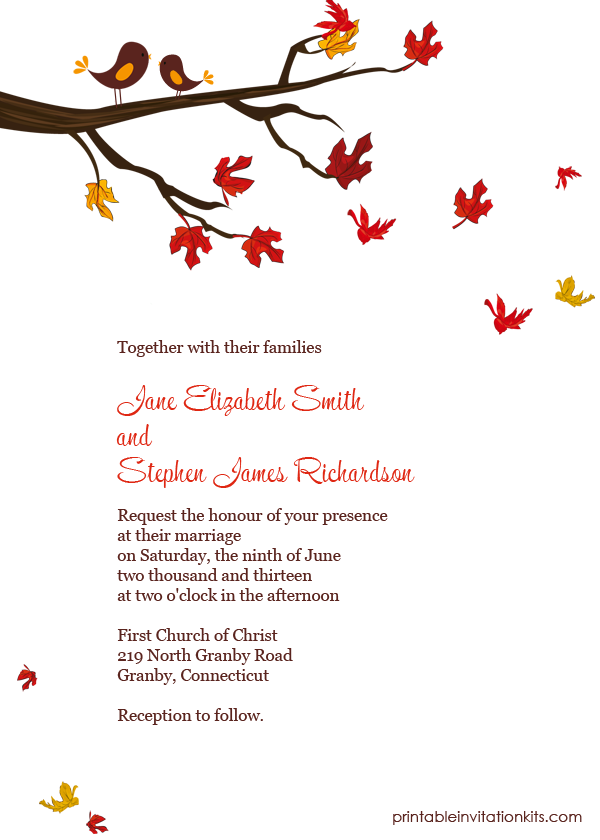 FREE PDF Downlaod. Autumn Lovebirds invitation. Template is very ...