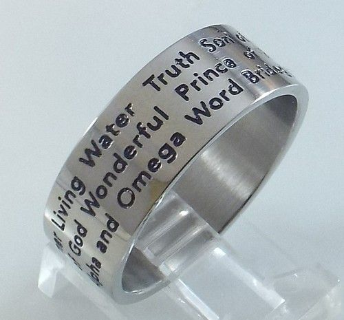 Mens or Ladies Stainless Steel 'Names of Jesus' Silver Ring~Size 8 Free Gift Box