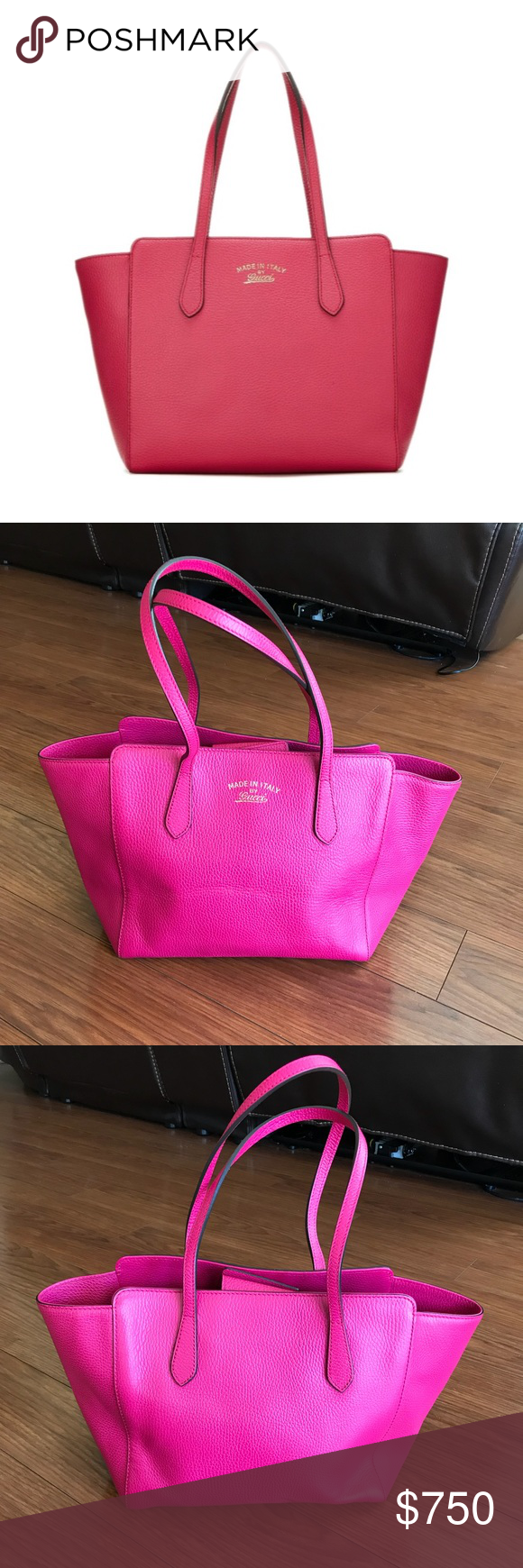 """be608955bbf3 PRICE DROPPED Gucci Leather """"Swing Tote"""" -100% Authentic, Free Posh  Authenticate"""