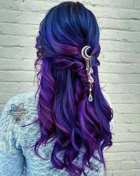 60 Beautiful Blue And Purple Hair Color Ideas Hairstylecamp Hair Styles Bright Hair Long Hair Styles