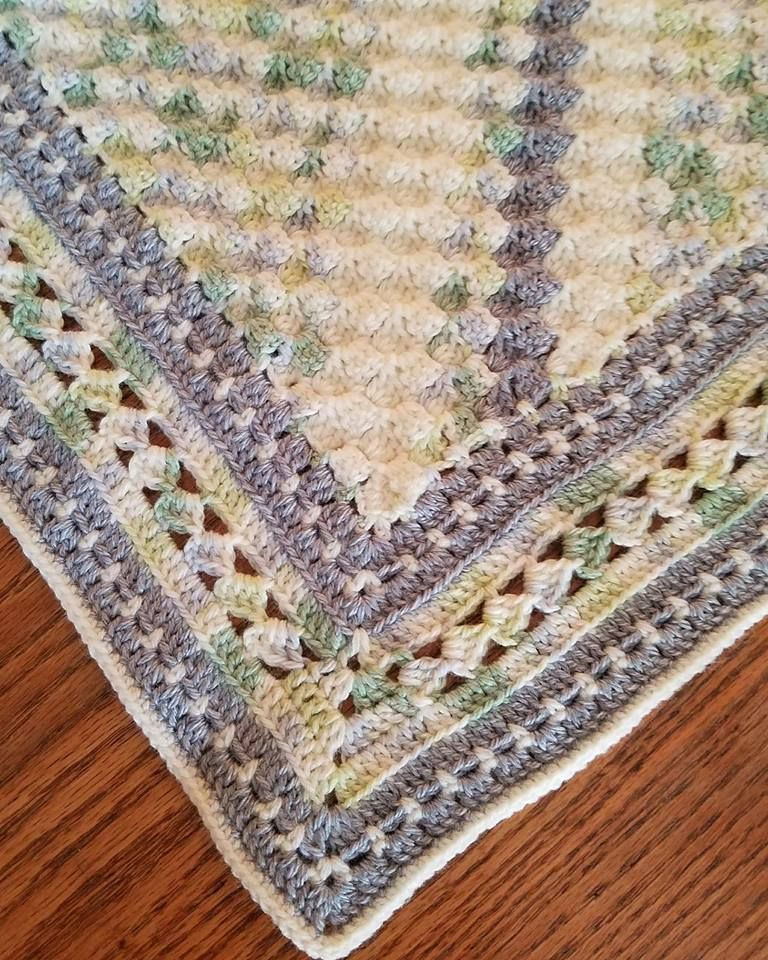 Medium, Grey /& White Trim The Knit Wit Handmade Knitted Baby Cellular Blankets