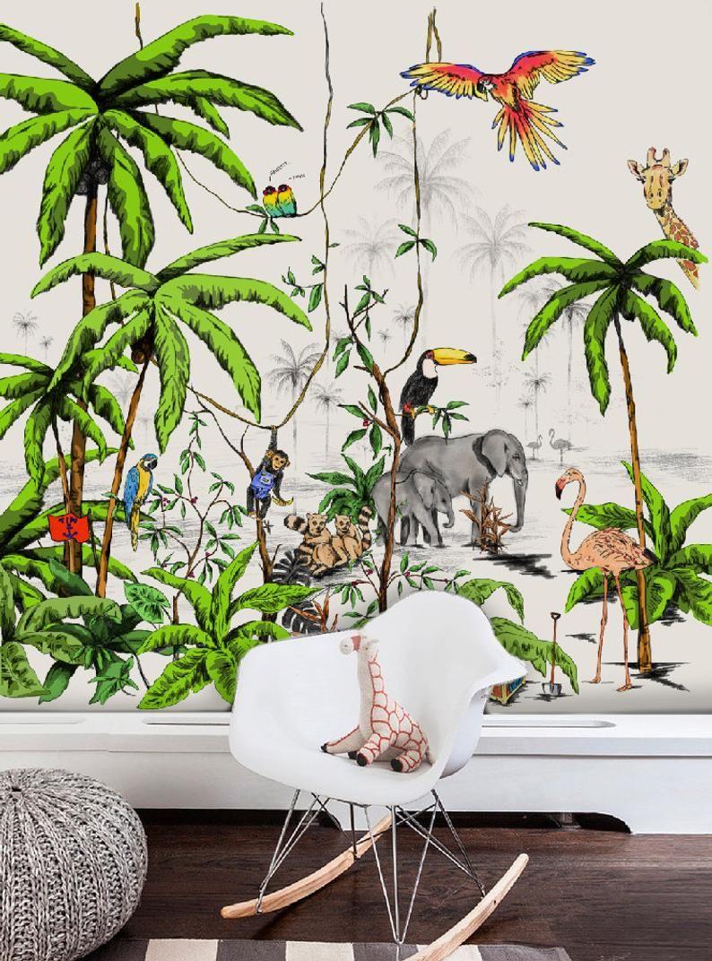 La Deco Tropicale Dans La Chambre Enfant Le Blog Deco De Mlc In 2020 Jungle Wallpaper Jungle Room Wallpaper