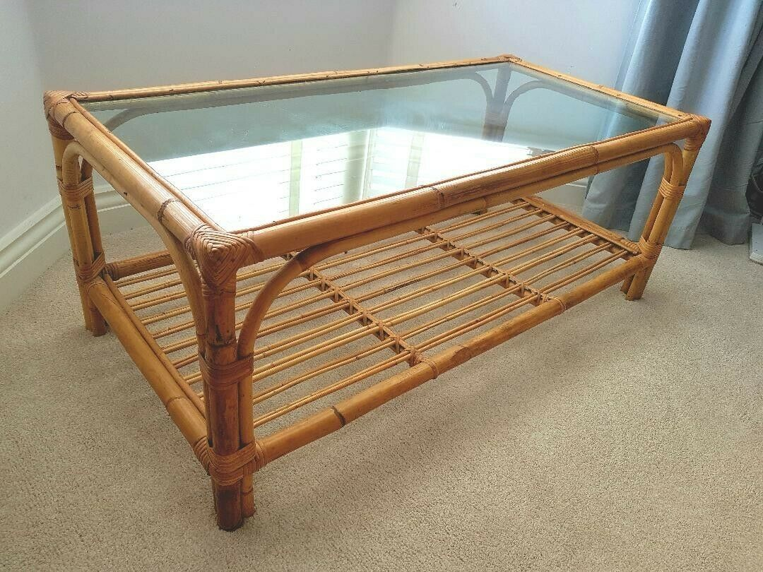 Vintage Retro Bamboo Cane Glass Topped Coffee Table Coffee Table Bamboo Coffee Table Cane Glass [ 810 x 1080 Pixel ]
