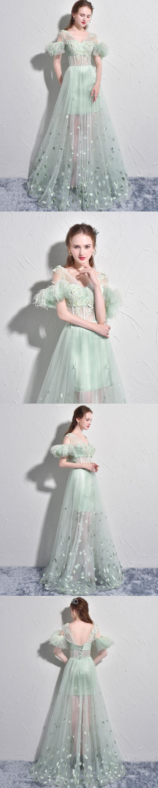 Sexy prom dresses aline short sleeve sage long prom dress tulle