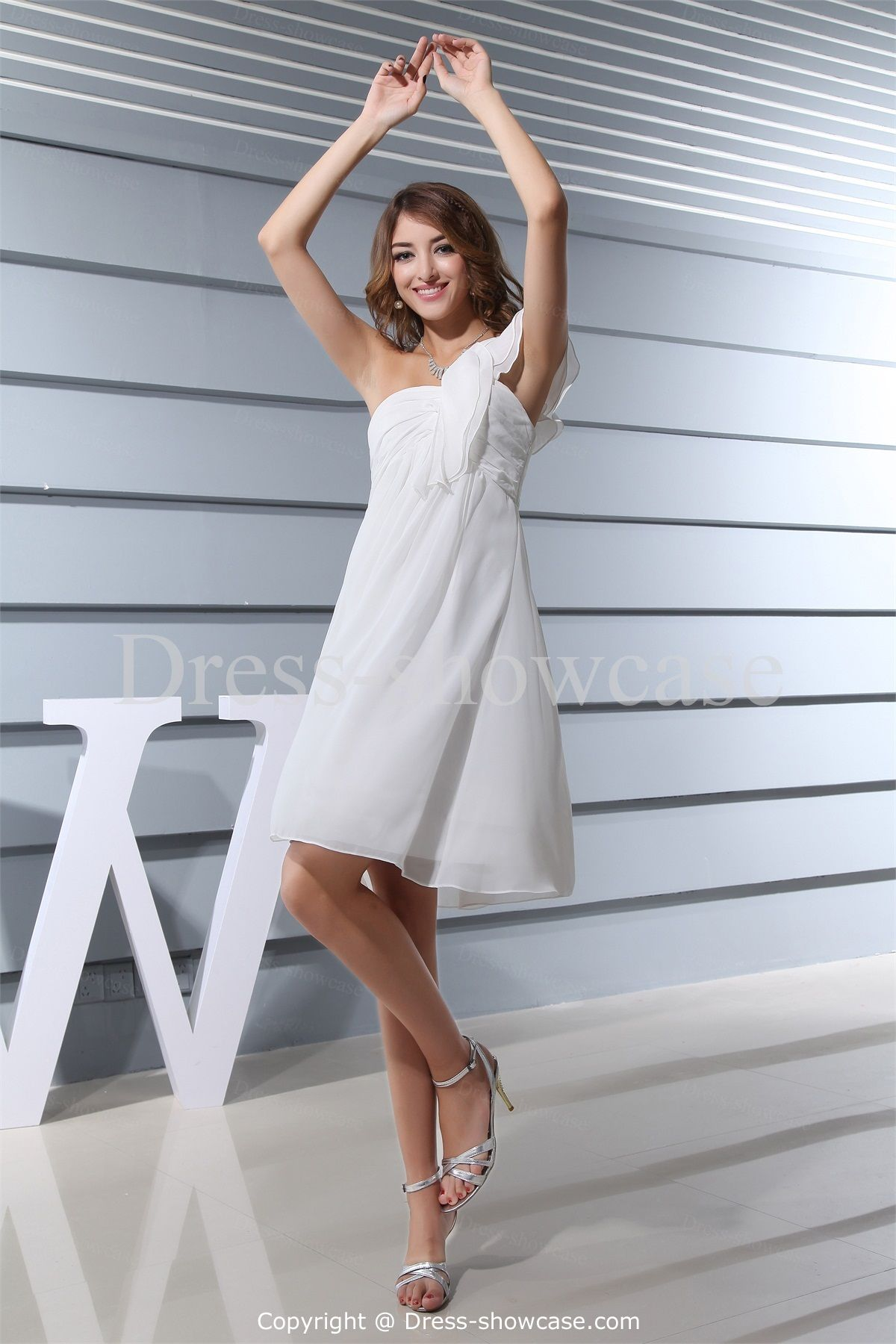 White Knee-Length Chiffon Ruffles One Shoulder Bridesmaid Dress ...