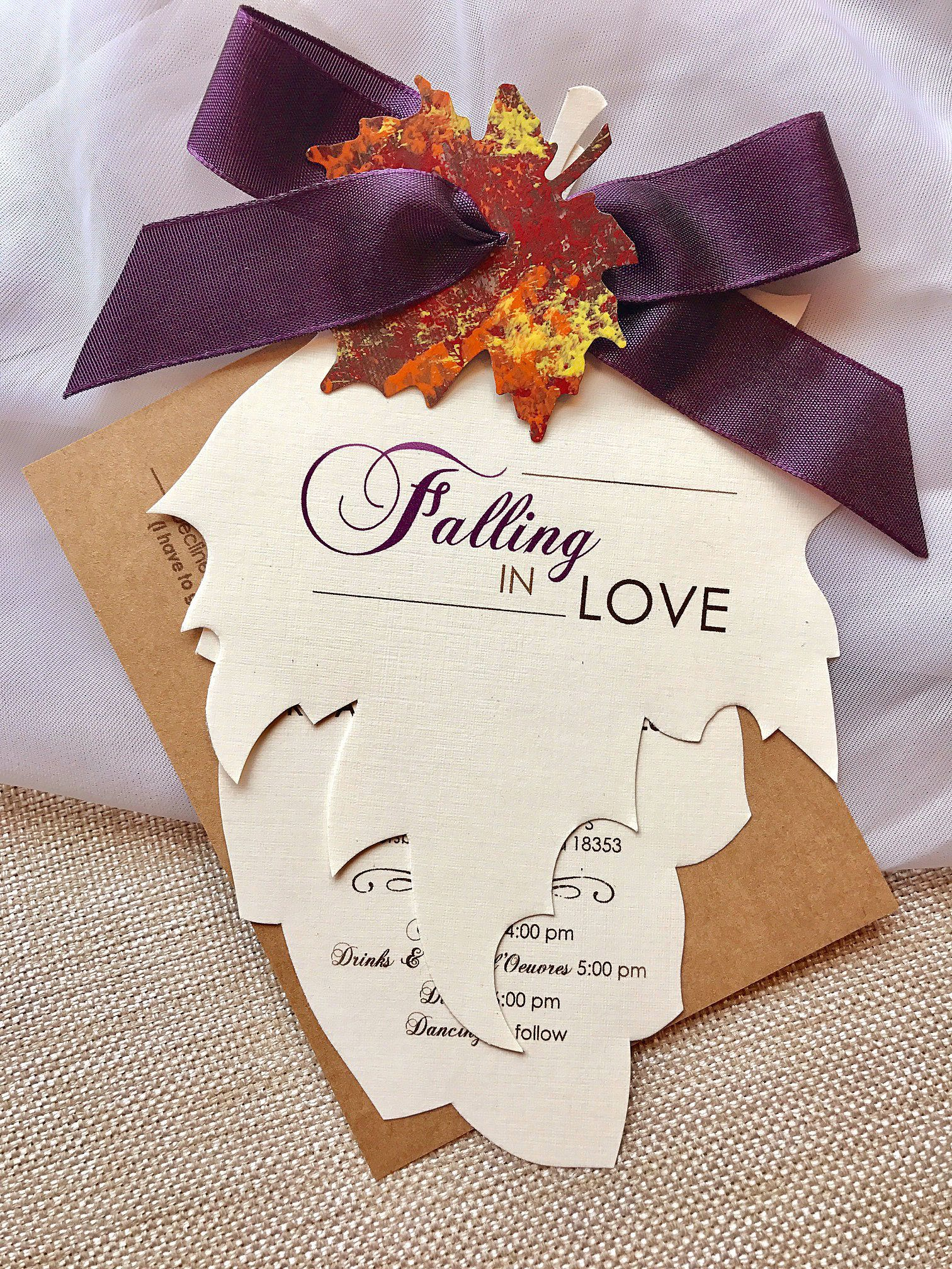 Falling in Love Wedding Invitation, Fall Wedding Invitations, Autumn ...