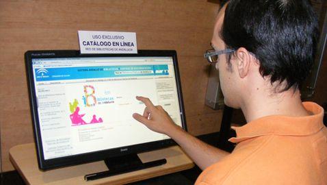 El catálogo de la Red de Bibliotecas de Andalucía en pantalla táctil. La Biblioteca Municipal de Gines ha instalado recientemente una pantalla táctil como punto de información en el cual sus usuarios pueden consultar el catálogo de la Red de Bibliotecas de Andalucía.