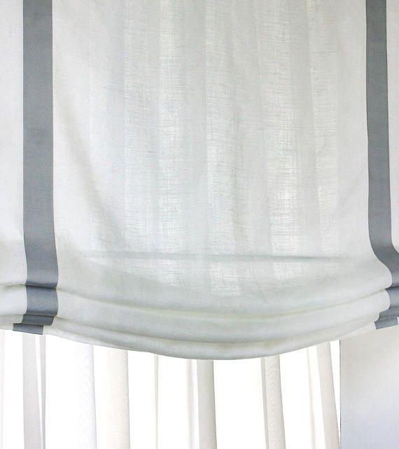 100 Belgian Linen Soft Casual Relaxed Sheer Roman Shades With Etsy Roman Shades Sheer Roman Shades Roman Shades Bathroom