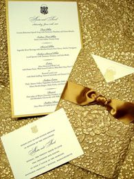 White and Gold Wedding. Wedding announcements and stationery all handmade by Clover Creek