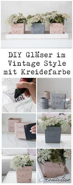 DIY Gläser im Vintage Style mit Kreidefarbe gestrichen