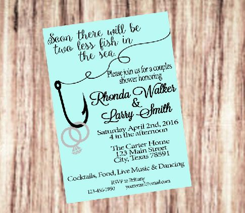 Two less fish in the sea bridal shower by for Fishing wedding invitations