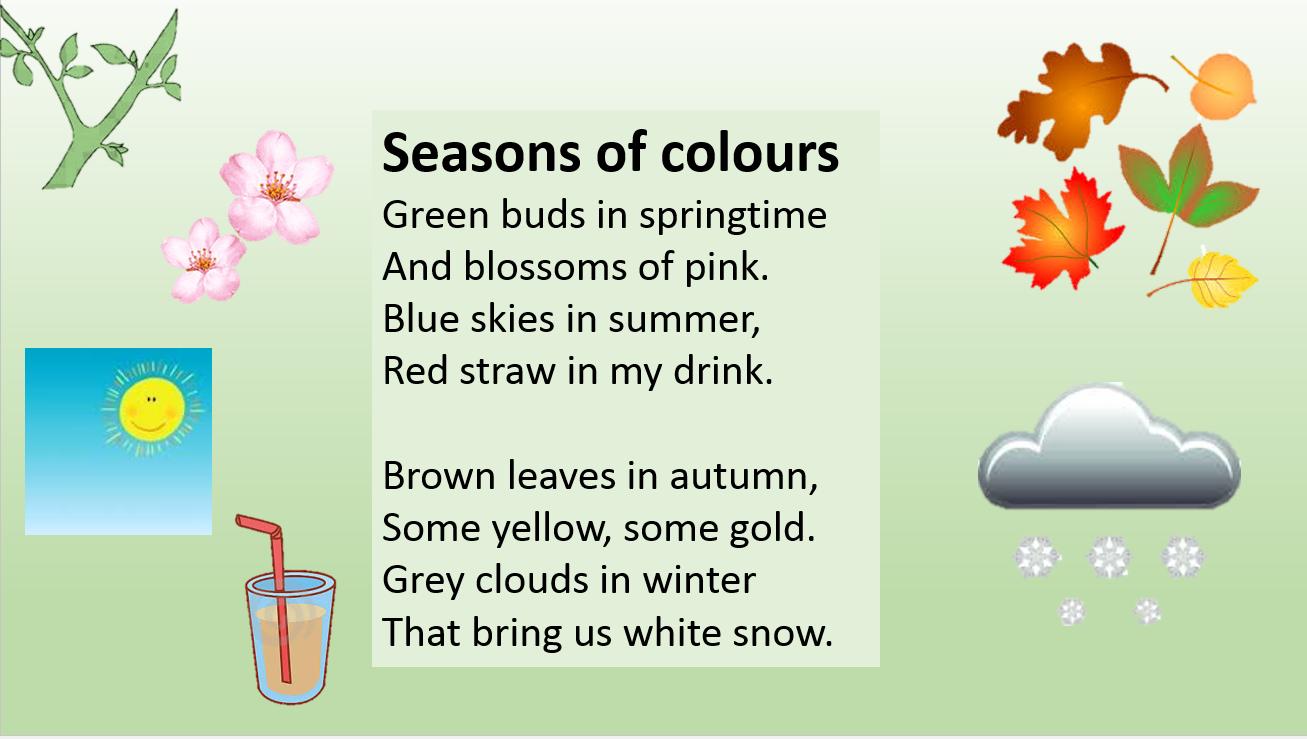 ESLaloud: Seasons of Colours | Kids Poems and Songs | Pinterest ...