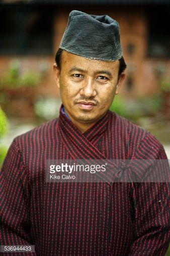 Stock Photo : Man wearing traditional Newari male clothing from Bhaktapur and Katmandu.