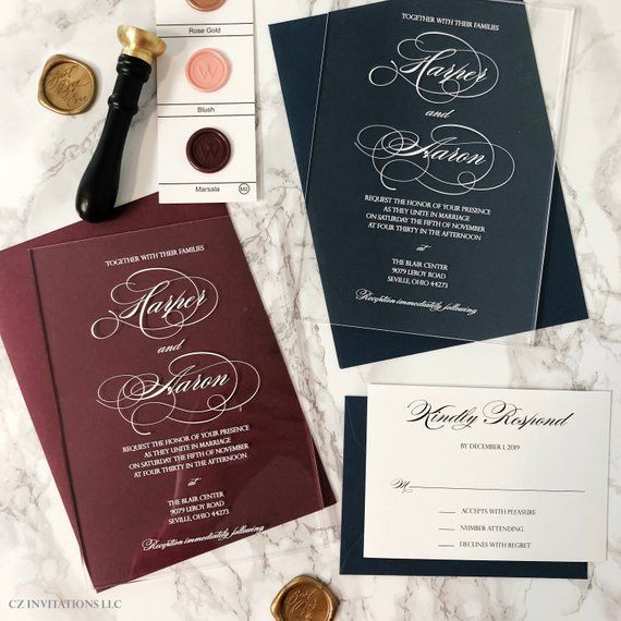 Acrylic Wedding Invitations With White Ink, Clear Wedding