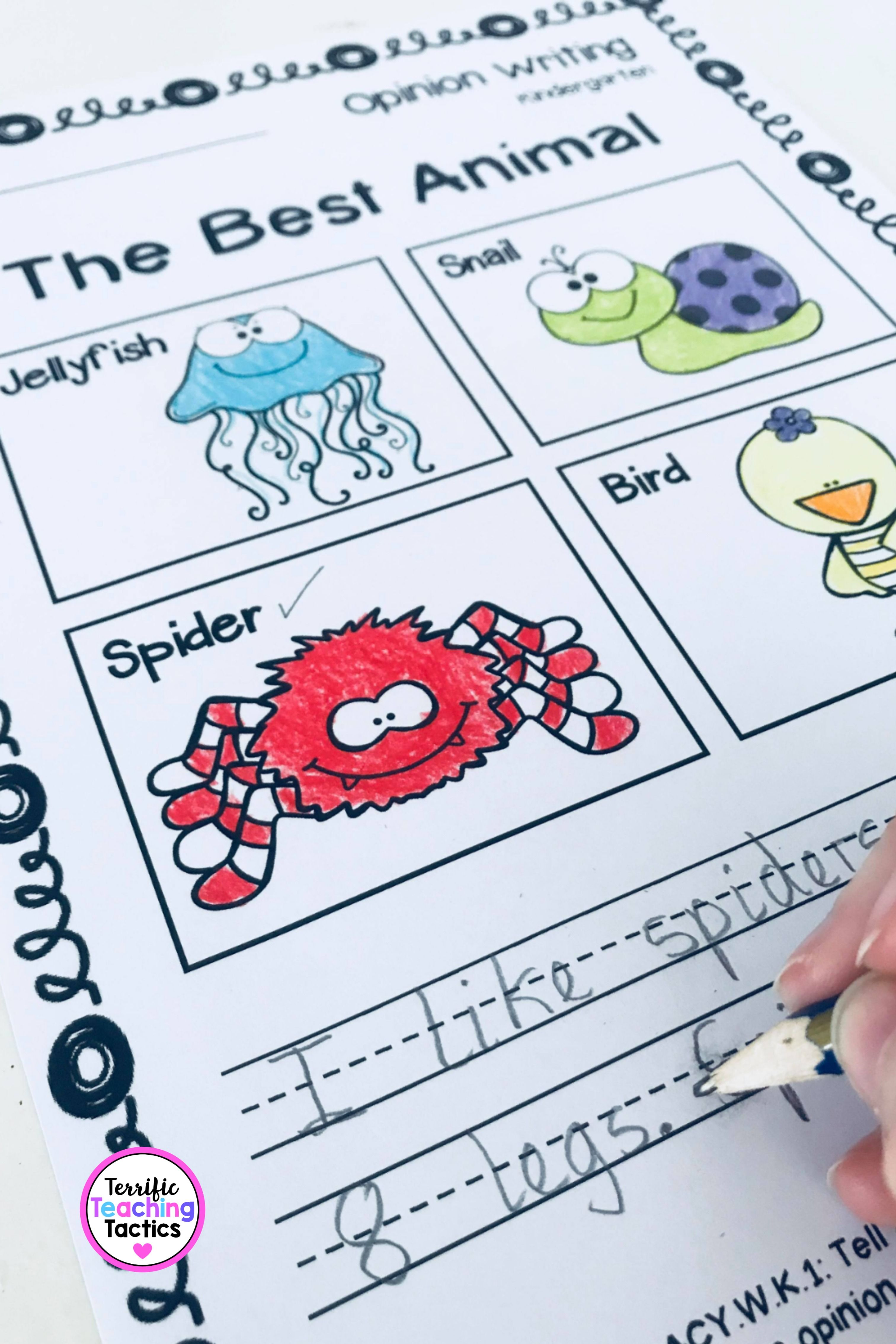 Kindergarten Opinion Writing Prompts And Worksheets In