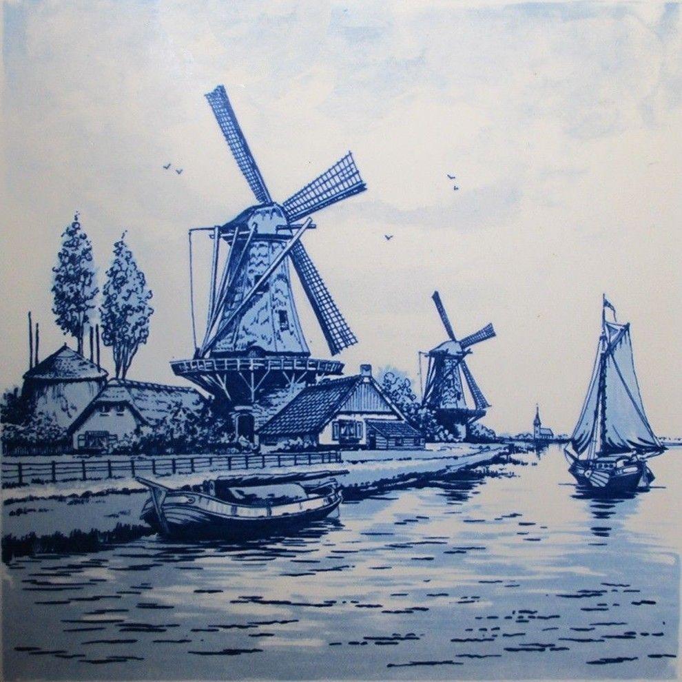 6 vintage delft blue handpainted holland ceramic tile windmill boat farm scene en 2018. Black Bedroom Furniture Sets. Home Design Ideas