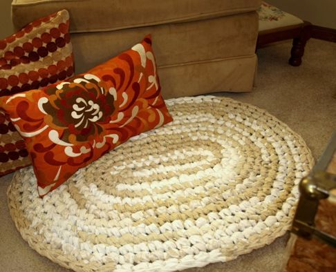 Linen Lace Rag Rug Kit Crocheted Using 2 Fabric Strips Rag Rug Crochet Rag Rug Fabric Bundle