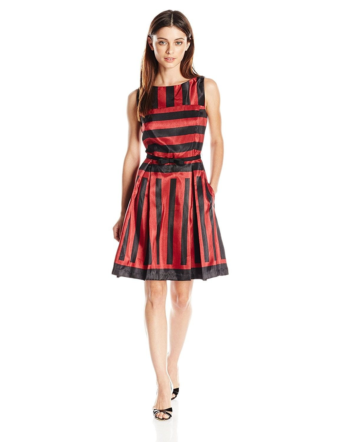 Women S Petite Sleeveless Striped Party Dress Black Red C31267y46sb Red Cocktail Dress Red Sleeveless Dress Womens Dress Suits [ 1500 x 1154 Pixel ]