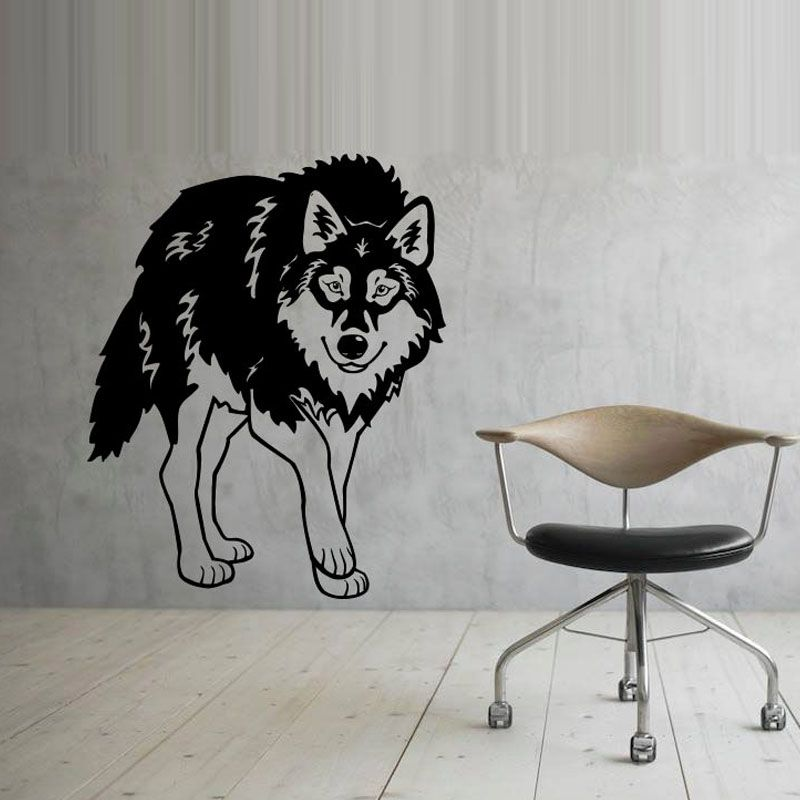 Animal Wall Decals Wolf Vinyl Art Wall Stickers Adhesive Removable - Vinyl wall decal adhesive