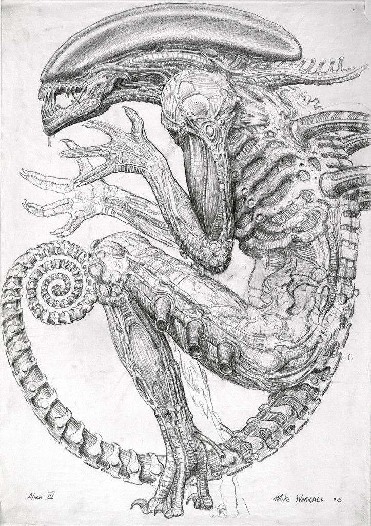 Early Alien 3 concept sketch by Mike Worrall | Aliens | Pinterest ...