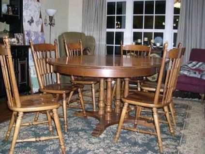 300 Tell City Maple Dining Table And 6 Chairs Maple Dining Table Table Dining Table