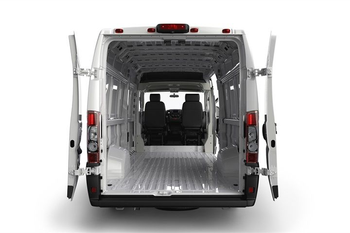 The Rear Doors Clamsheel Open Up To 260 Degrees And Can Lock In Place Photo Courtesy Chrysler Group Automotive F Cargo Van Truck Cargo Cargo Van Conversion