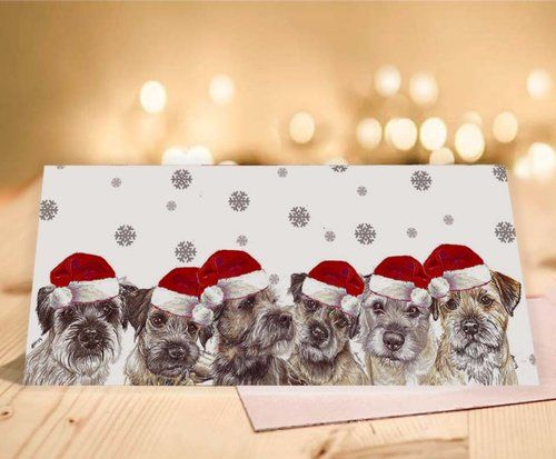 border terrier christmas card — two woofs  border terrier