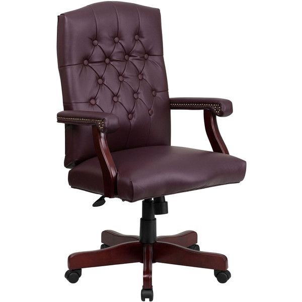 Tufted Design Leather Office Chair 350 Liked On Polyvore