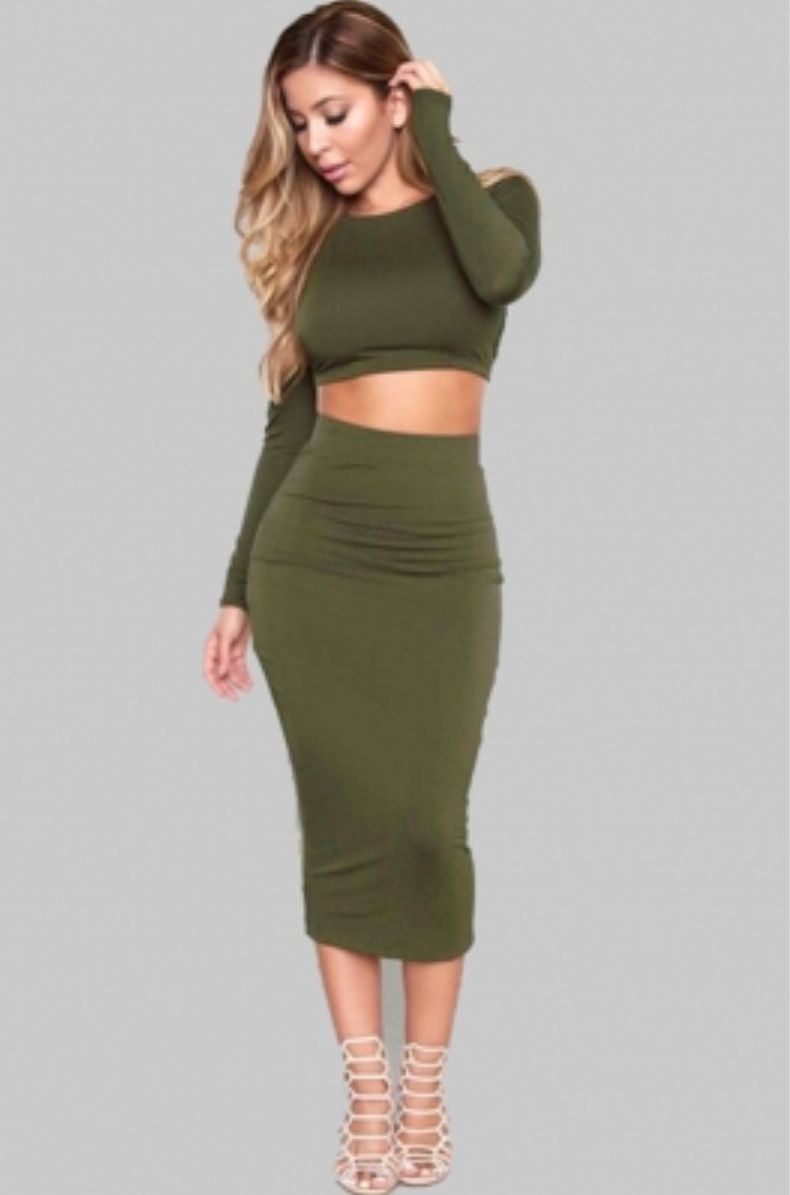 Olive You Olive Green Crop Top 2 Piece Skirt Set Date Night