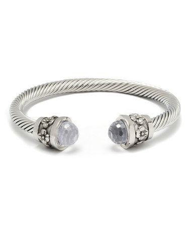 This Clear Dome Austrian Crystal & Silver Floral Cuff is perfect! #zulilyfinds