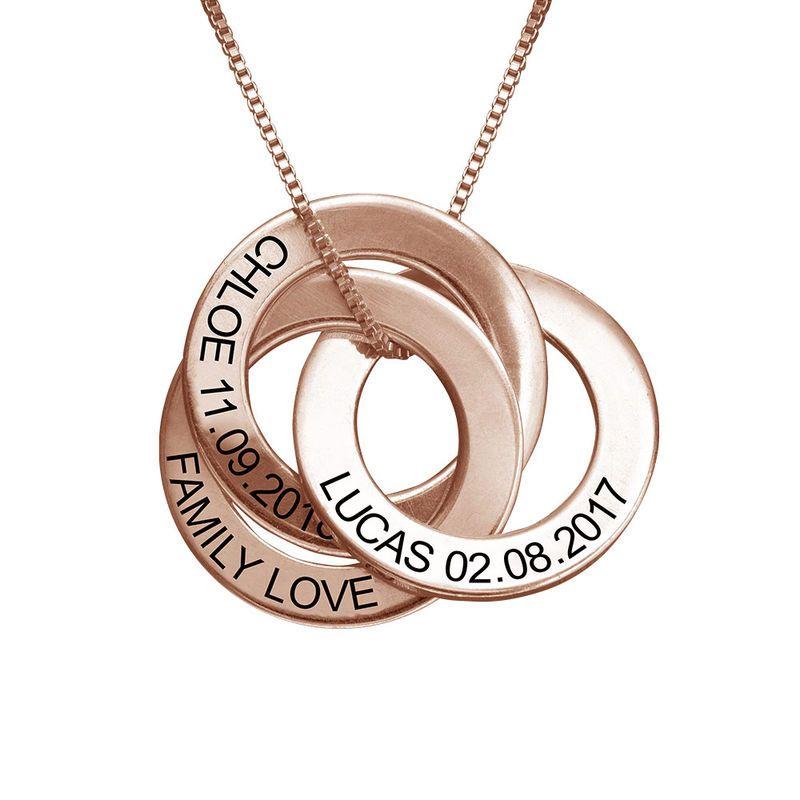Personalizado Grabado para Mujer Familia Triple Círculo Collar De Plata Oro Rosa