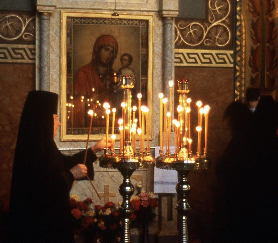 Orthodox Church Georgia Nuns Lighting Prayer Candles