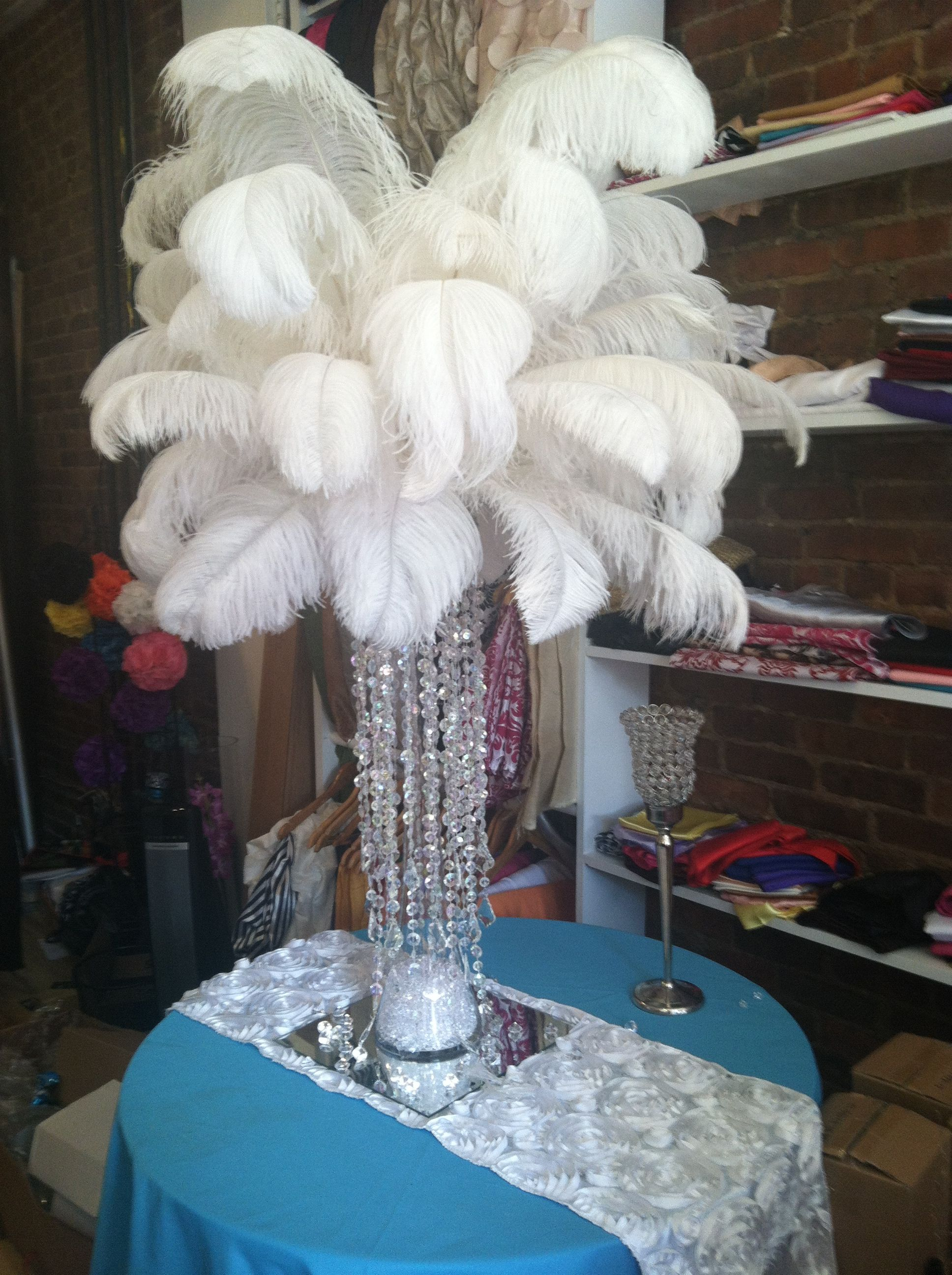 Feather centerpiece available for rent