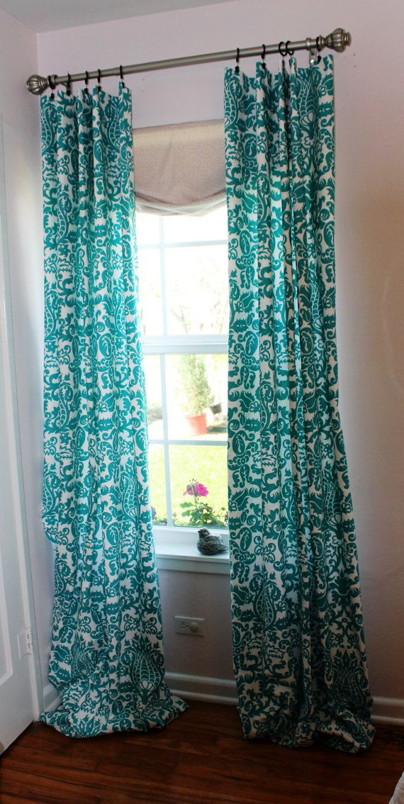 Cute Curtains 55 On Etsy Turquoise Curtains Living Room